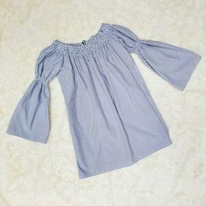 5/$25 Seersucker Blue Striped Tunic Top xs